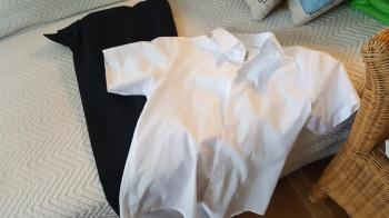 viigipüksid, valge pluus