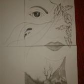 Minu joonistaud pilt must valgelt harilikuga