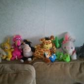 väikesed pehmed mänguasjad ja paar kummist ,mänguasja
